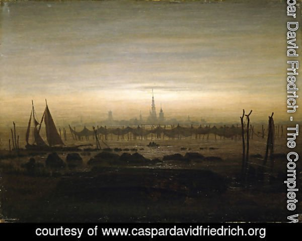 Caspar David Friedrich - Griefswald in the Moonlight