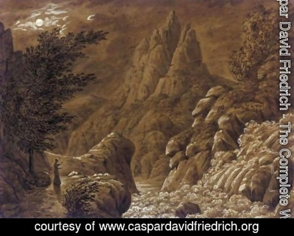 Caspar David Friedrich - Idealised Landscape with Waterfall (Ideale Gebirgslandschaft mit Wasserfall)