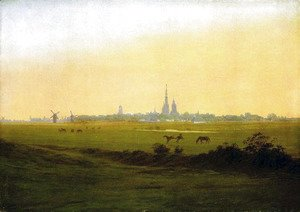 Caspar David Friedrich - Meadows with grab forest