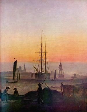 Caspar David Friedrich - Ships in the port of grab forest