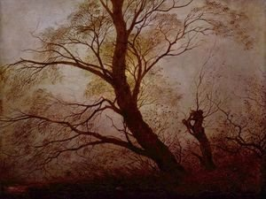 Caspar David Friedrich - Trees in the moonlight