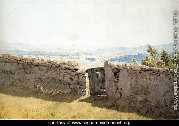 Landscape with Crumbling Wall