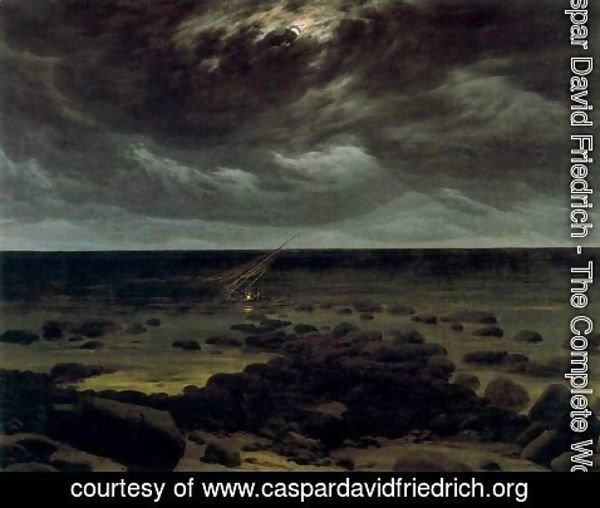 Caspar David Friedrich - Seashore with Shipwreck by Moonlight