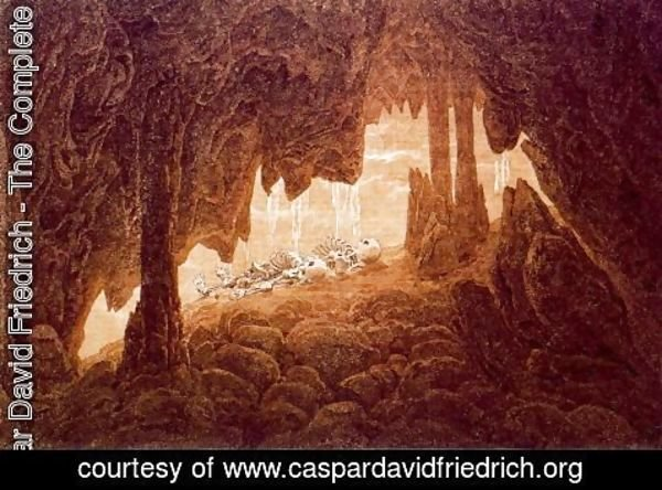 Caspar David Friedrich - Skeletons in a Cave with Stalacties