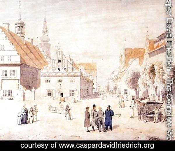 Caspar David Friedrich - The Marketplace in Greifswald