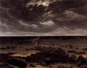 Caspar David Friedrich - Seashore with Shipwreck by Moonlight 2