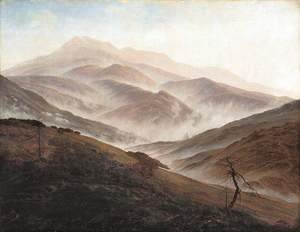 Caspar David Friedrich - Riesengebirge Landscape with Rising Fog