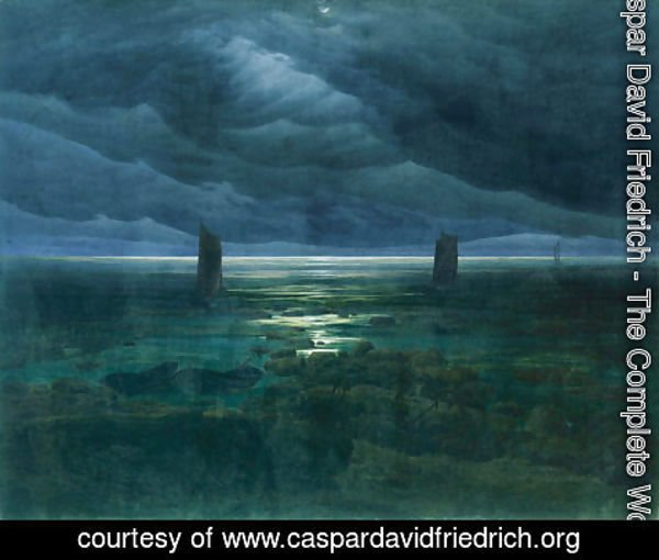 Caspar David Friedrich - Seashore By Moonlight