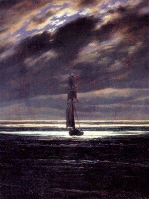 Caspar David Friedrich - Seascape in the Moonlight (ca. 1835)