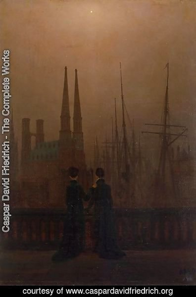 Caspar David Friedrich - Night in the harbor (sisters)