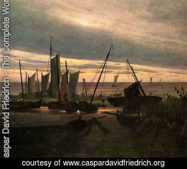 Caspar David Friedrich - Ships in the harbor at night (after sunset)