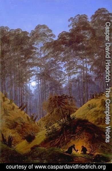 Caspar David Friedrich - Inside the Forest under the moonlight
