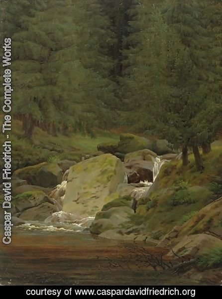 Caspar David Friedrich - Pines at the waterfall