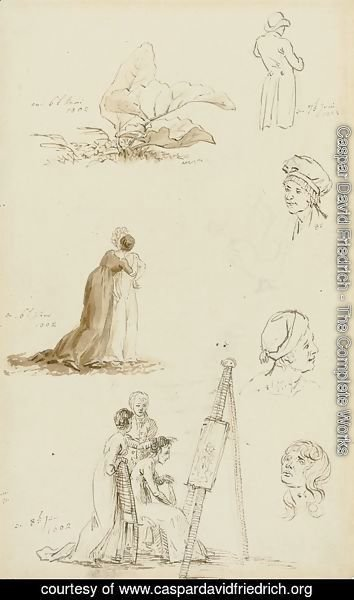 Caspar David Friedrich - Study of heads, figures, and foliage