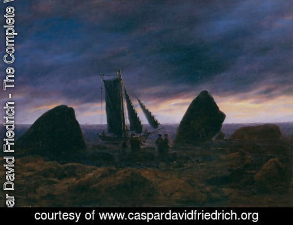 Caspar David Friedrich - Fishing boat between two rocks on the beach of the Baltic Sea