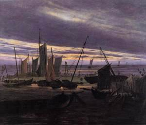 Caspar David Friedrich - Boats in the Harbour at Evening c. 1828