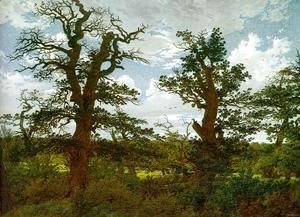 Caspar David Friedrich - Landscape with Oak Trees & a Hunter 1811