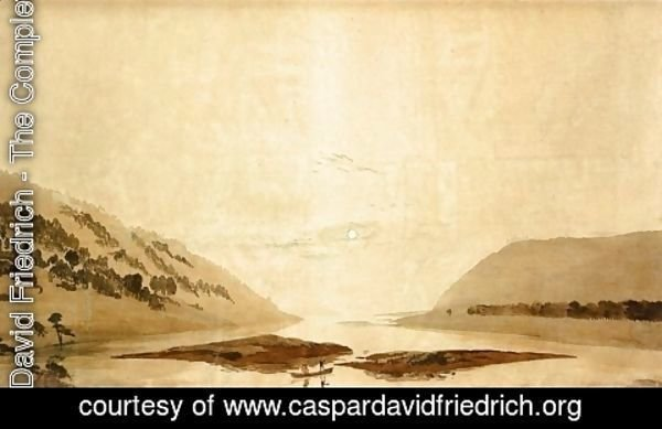 Caspar David Friedrich - Mountainous River Landscape (Day Version) 1830-35