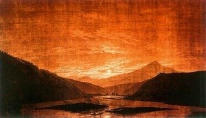 Caspar David Friedrich - Mountainous River Landscape (Night Version) 1830-35