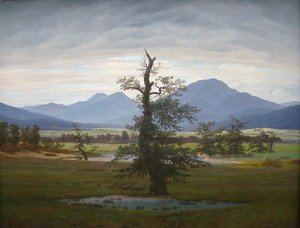Caspar David Friedrich - Village Landscape in Morning Light (The Lone Tree) 1822