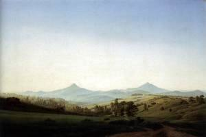 Caspar David Friedrich - Bohemian Landscape with Mount Milleschauer 1808